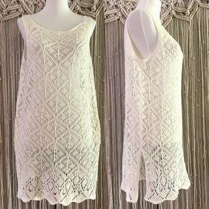 She + Sky Crochet Tunic Coverup White Tank - Large